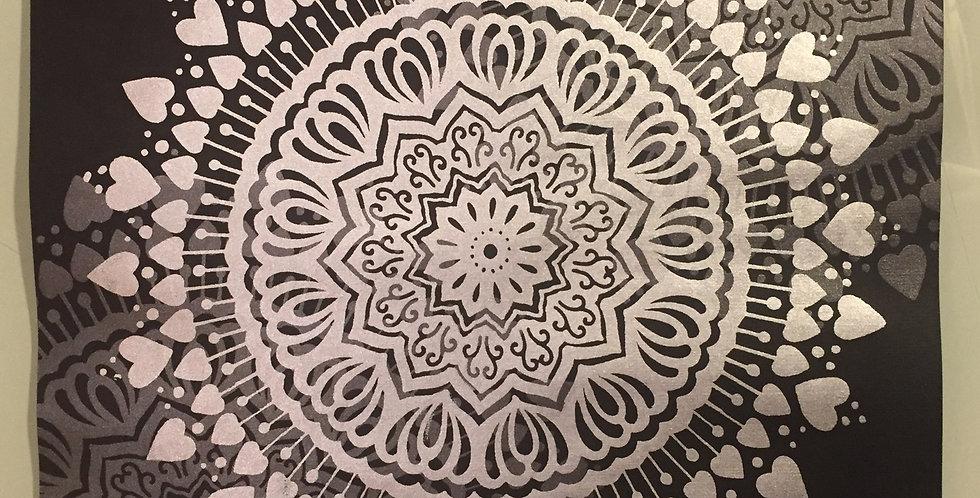 """Spread the Love"" mandala // silver print // black background"