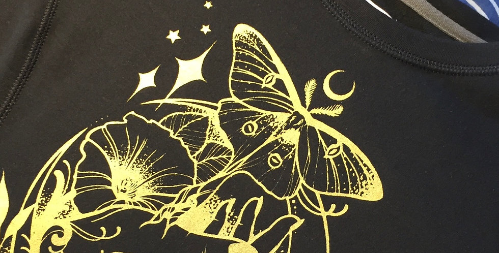Black long sleeve pullover // under the moonlight // gold