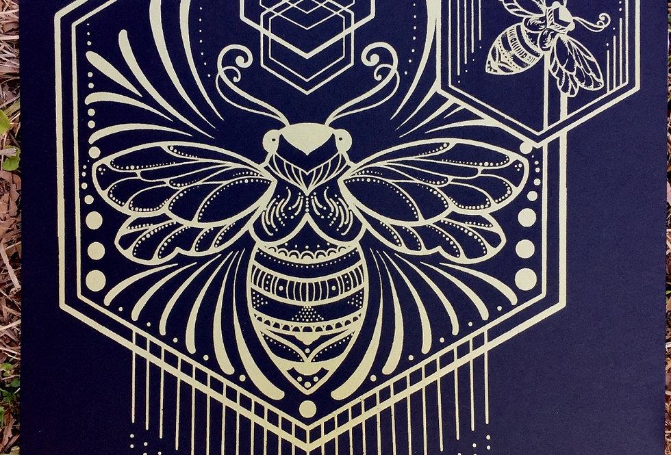 """Spread your wings"" // shimmery gold // black art board"