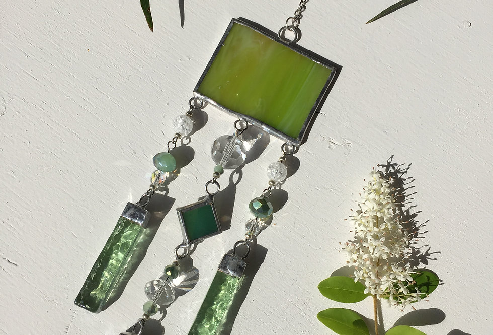 Spring green stained glass // suncatcher
