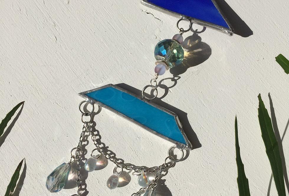 Blue arrow stained glass // suncatcher