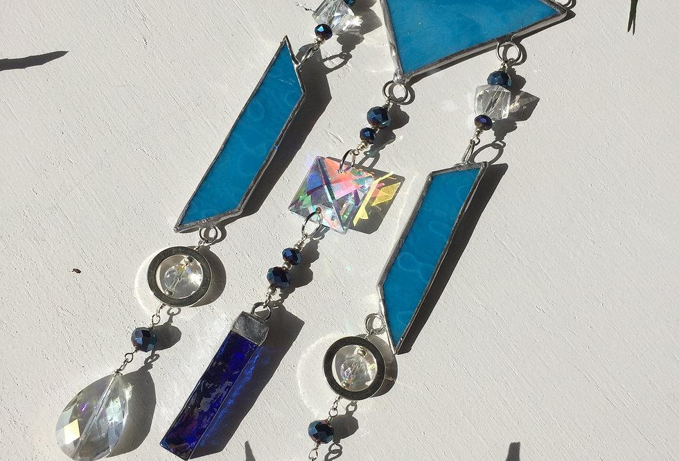 Geometric blue stained glass // suncatcher