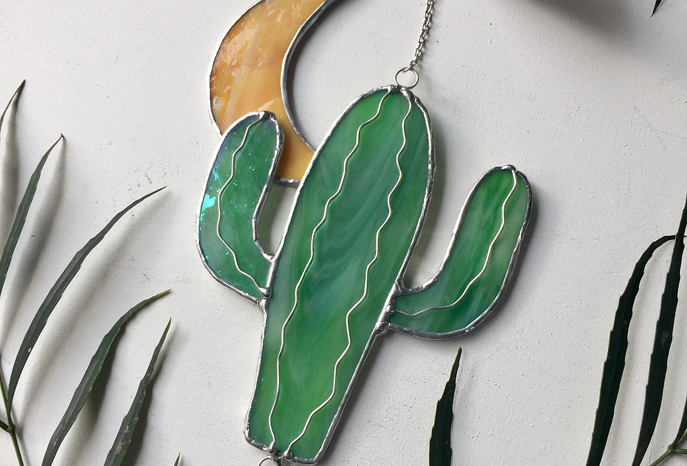 Cactus under the crescent moon // stained glass // suncatcher