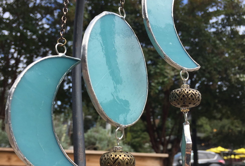 Opaque turquoise // stained glass // goddess moons
