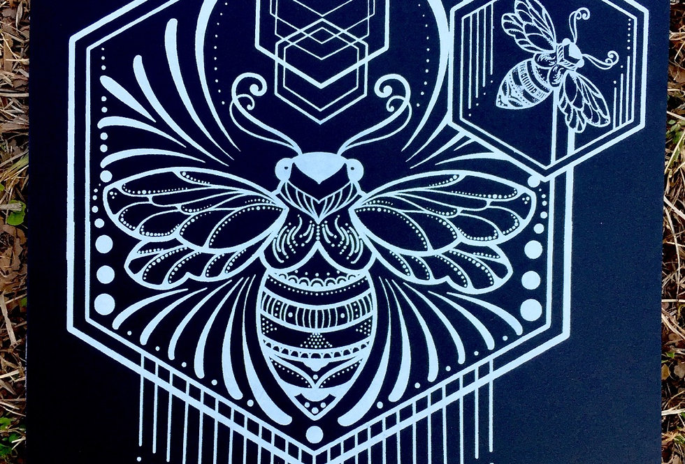 """Spread your wings"" // white print // black art board"