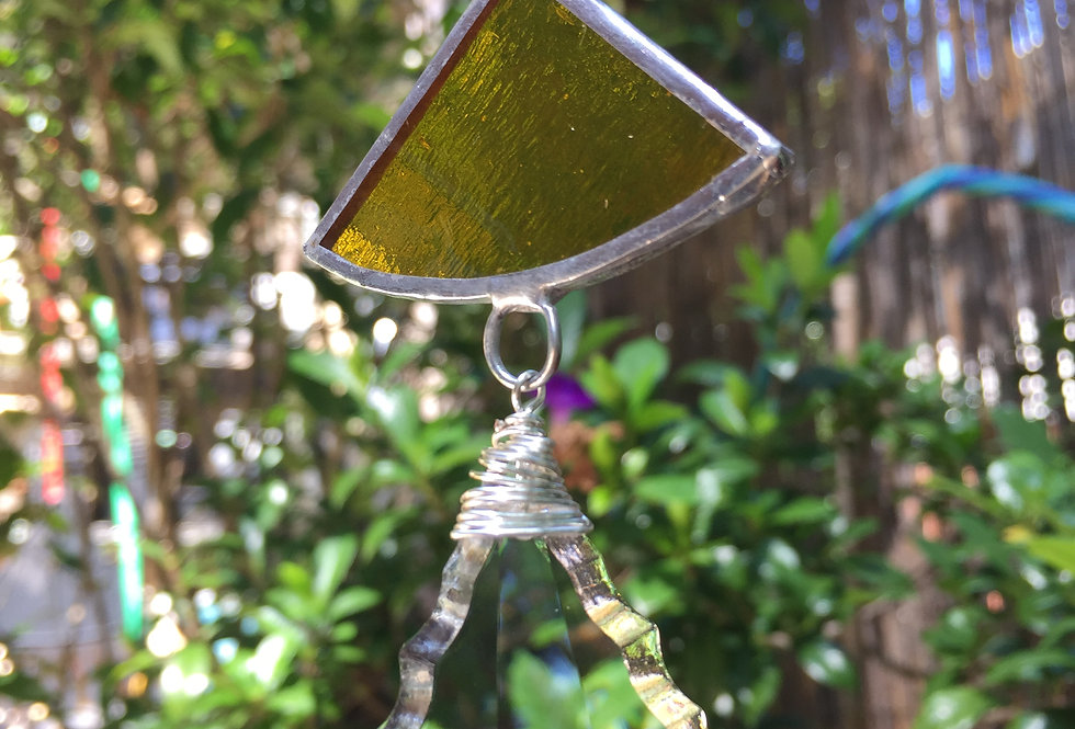 """Yellow stained glass """"ginkgo"""" leaves // suncatcher"""