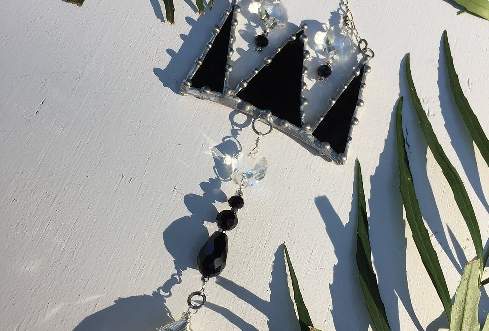 """""""Queen for a Day"""" // black studded stained glass // suncatcher"""