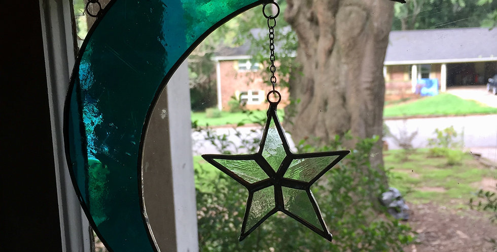 Corner moons and stars // stained glass // three piece suncatcher