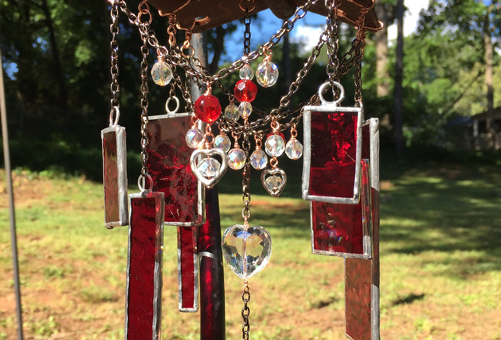 """Home is where the heart is"" // red stained glass // suncatcher"