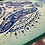 "Thumbnail: ""Triple Moth"" mandala // navy print // seafoam corners"