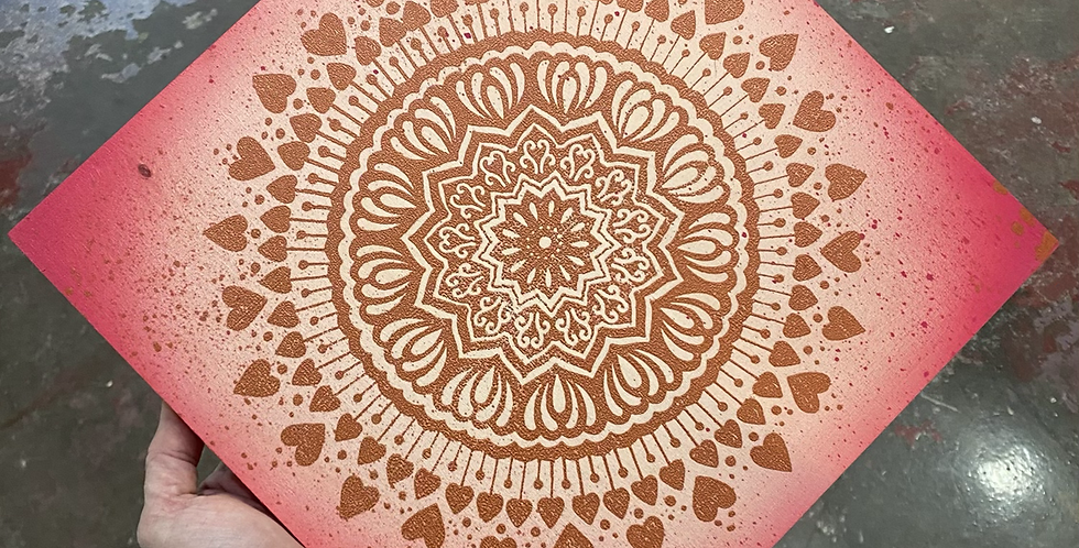 """Spread the Love"" mandala // copper print // red background"