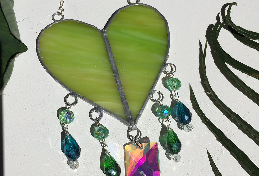 Large green stained glass heart // suncatcher