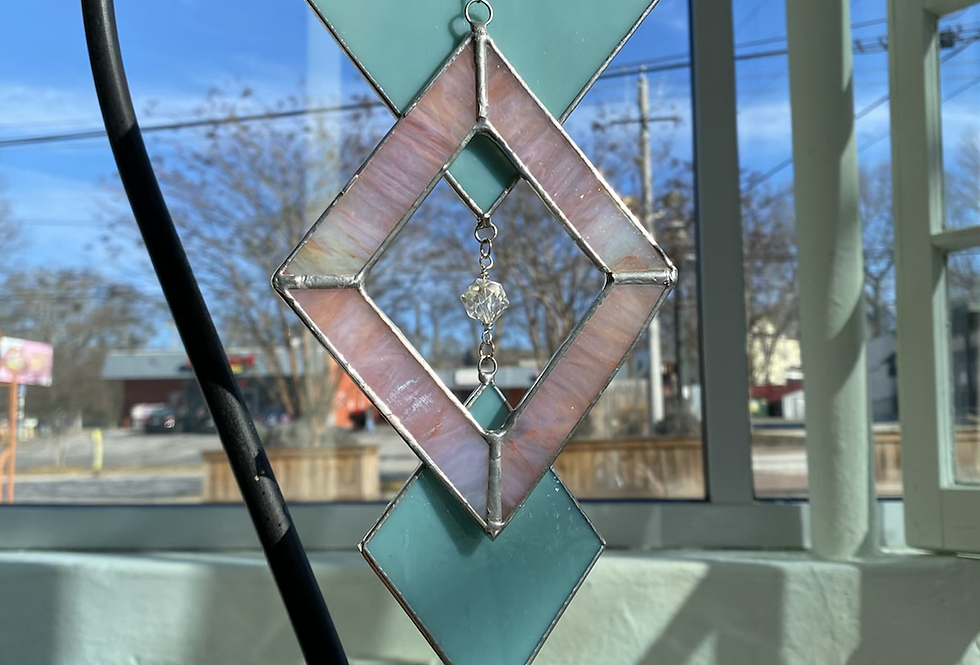 Turquoise diamonds // stained glass // suncatcher
