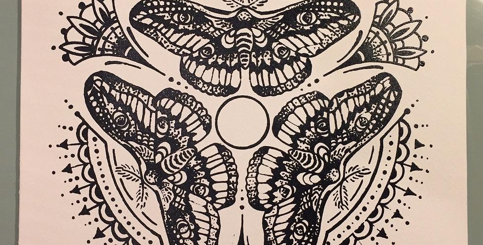"""Triple Moth"" mandala // black print // white background"