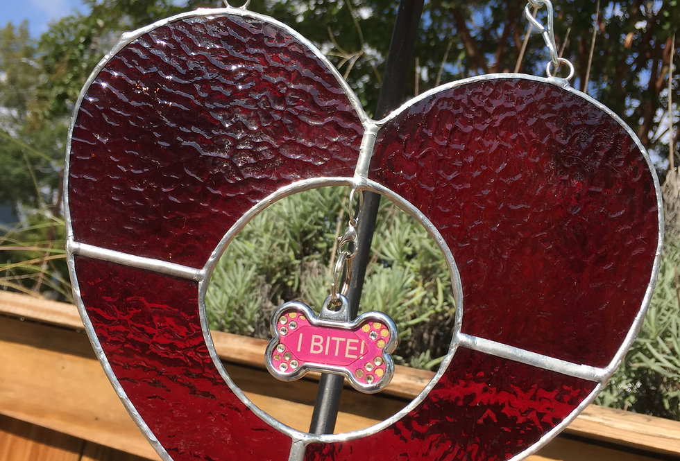Rippled red stained glass heart // pet tag holder