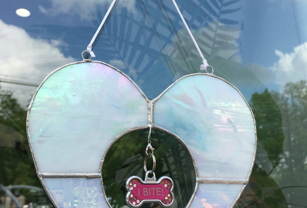 Angel of my heart // iridescent white stained glass // pet tag holder