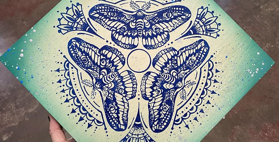 """Triple Moth"" mandala // navy print // seafoam corners"