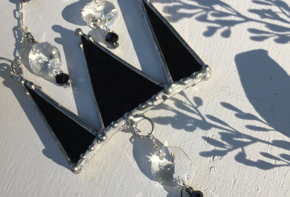 """""""Queen for a Day"""" // black stained glass // suncatcher"""