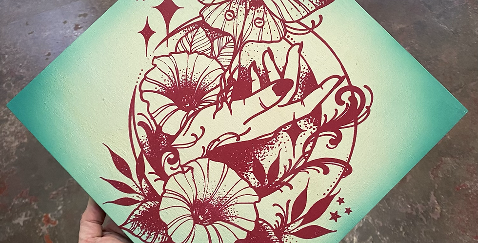 """Under the Moonlight"" // magenta print // seafoam corners"