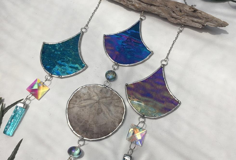 Mermaid's Dream // turquoise stained glass + sand dollar // suncatcher
