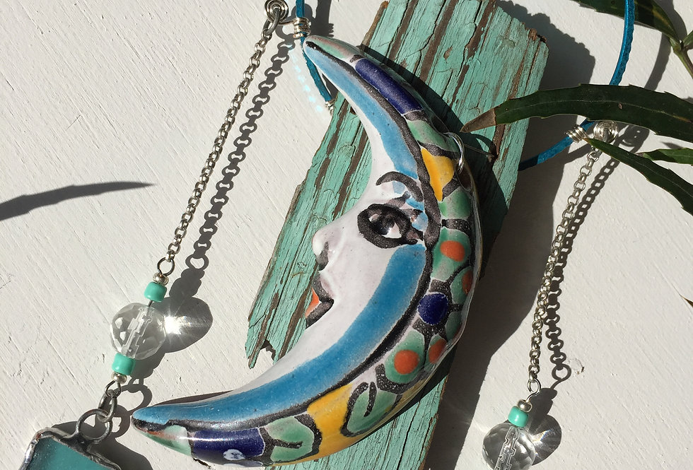 """Blue moon"" // ceramic moon + sea glass // suncatcher"