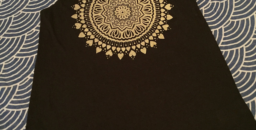 """""""Spread the Love""""//Black crew neck//shimmery gold print"""