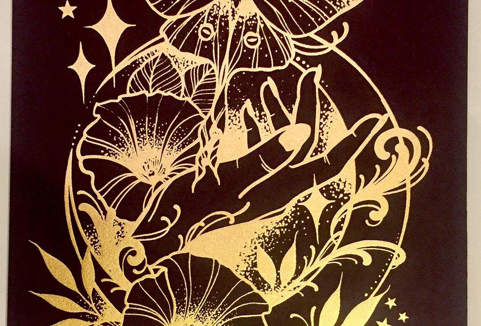 """Under the moonlight"" // gold print // black background"