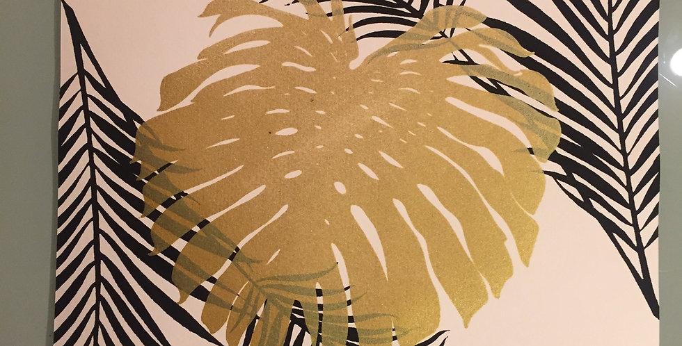 Shimmery gold monstera leaf // black palm // white background