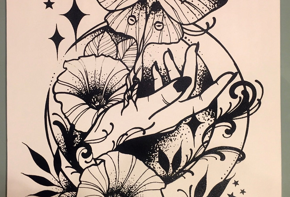 """Under the moonlight"" // black print // white background"