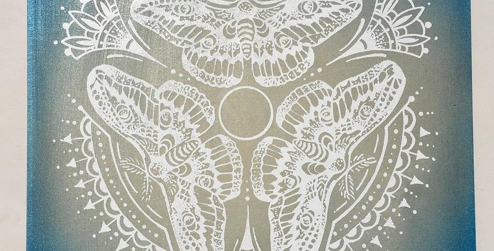 Triple moth mandala // shimmery blue + white print // wood panel