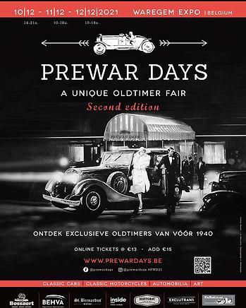 Oldtimerbeurs Waregem - Prewar Days 2021 Affiche Prewar Days