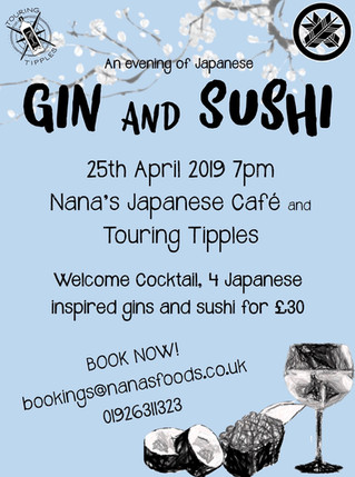 Gin and Sushi night Thursday 25th April