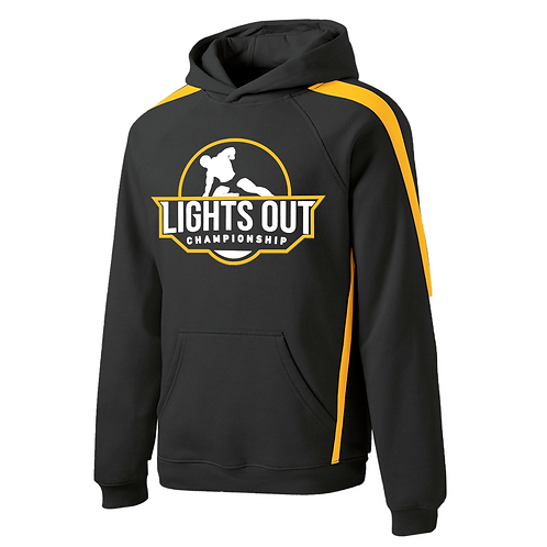 Sleeve Stripe Pullover Hoodie with the Lights Out Logo Print