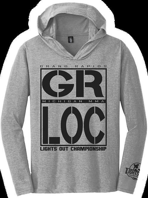 District® Perfect Tri® Long Sleeve Hoodie GR LOC Black Screen Print