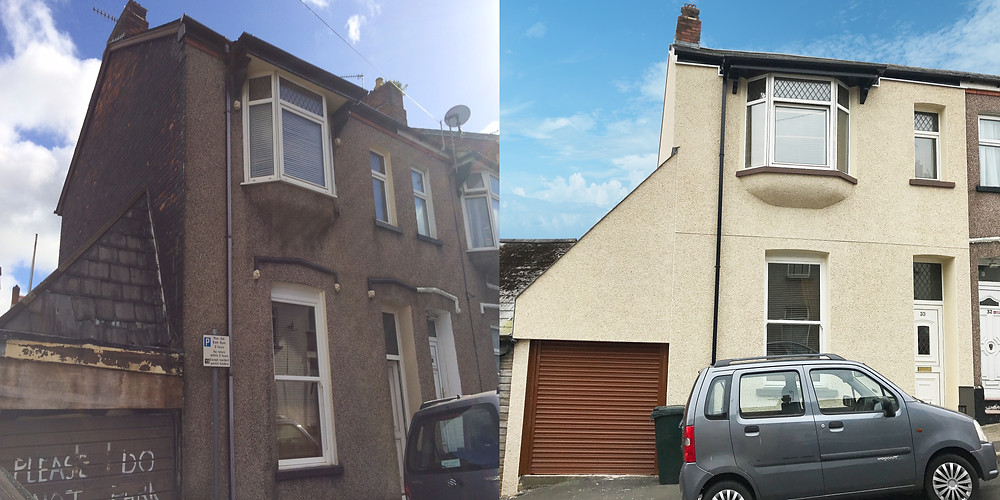 Before and After image of External Solid Wall Insulation installed on a rental property in Newport, South Wales