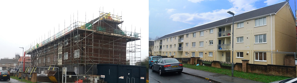 External Solid Wall Insulation being installed on a block of flats in South Wales