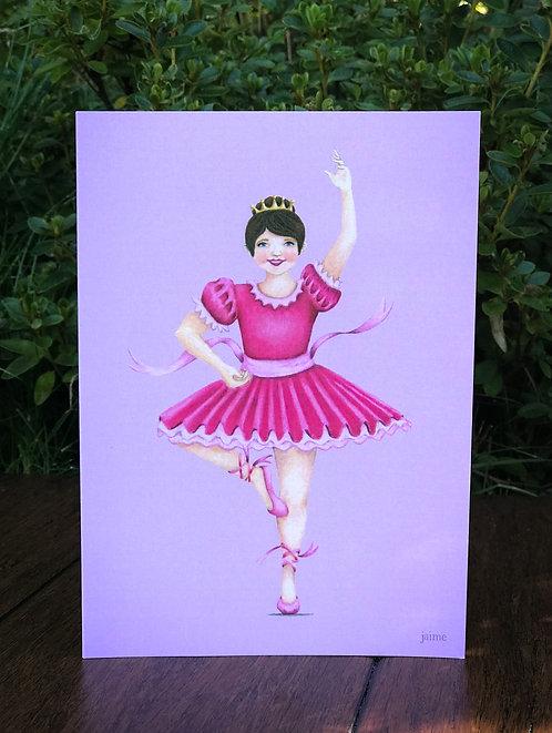 Brunette Ballerina Greeting Card