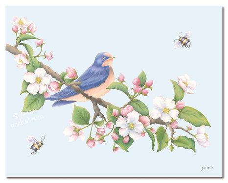 Bird, Bees & Blossoms Art Print