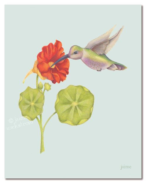Hummingbird's Dinner Art Print