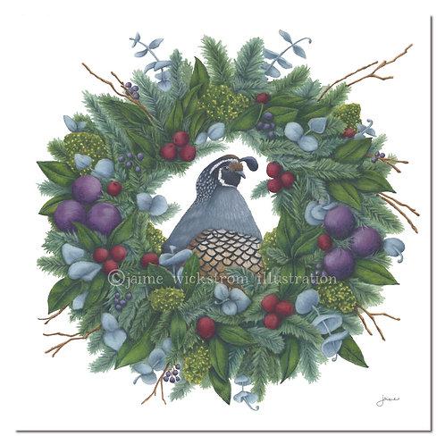 Quail & Wreath Print