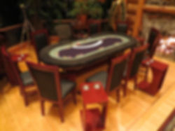 Customer poker table rental with chairs and side tables