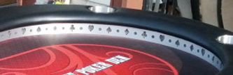 raised rail poker table with suited cutouts