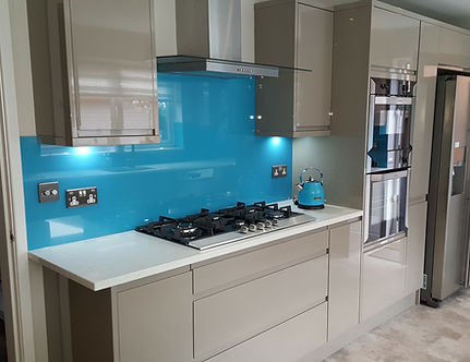 Blue glass splashbacks fitted in Lake District, Cumbria, Northwest