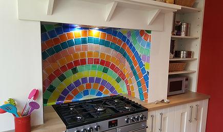 Printed colourful mosaic glass splashback, Warrington, Northwest