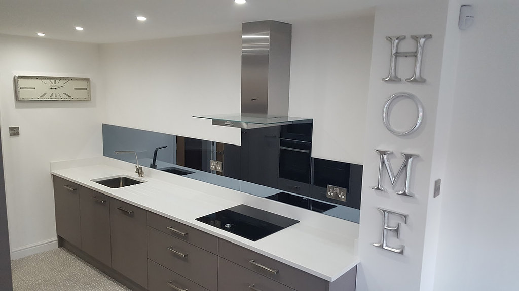 Grey tint mirror glass splashbacks