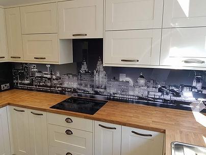 Black & white printed liverpool skyline glass splashback, Crosby, Northwest