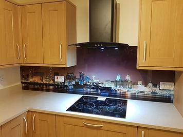 Printed liverpool skyline at night glass splashback, Merseyside, Northwest