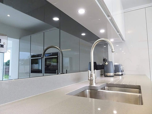 Grey Mirror glass splashbacks, template supplied and fitted in Liverpool, Warrington, Wirral, StHelens, Widnes, Halewood, Speak, Woolton, Childwall, Ainsdale, Southport