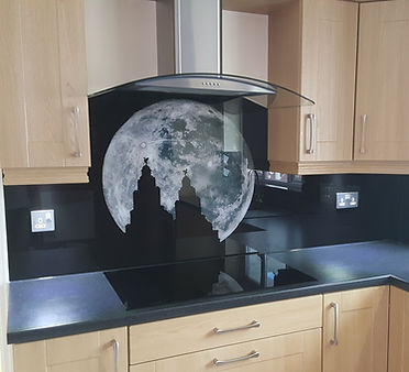 Printed glass splashback moonlit silhouette of the liverbuildings, Aintree, Northwest