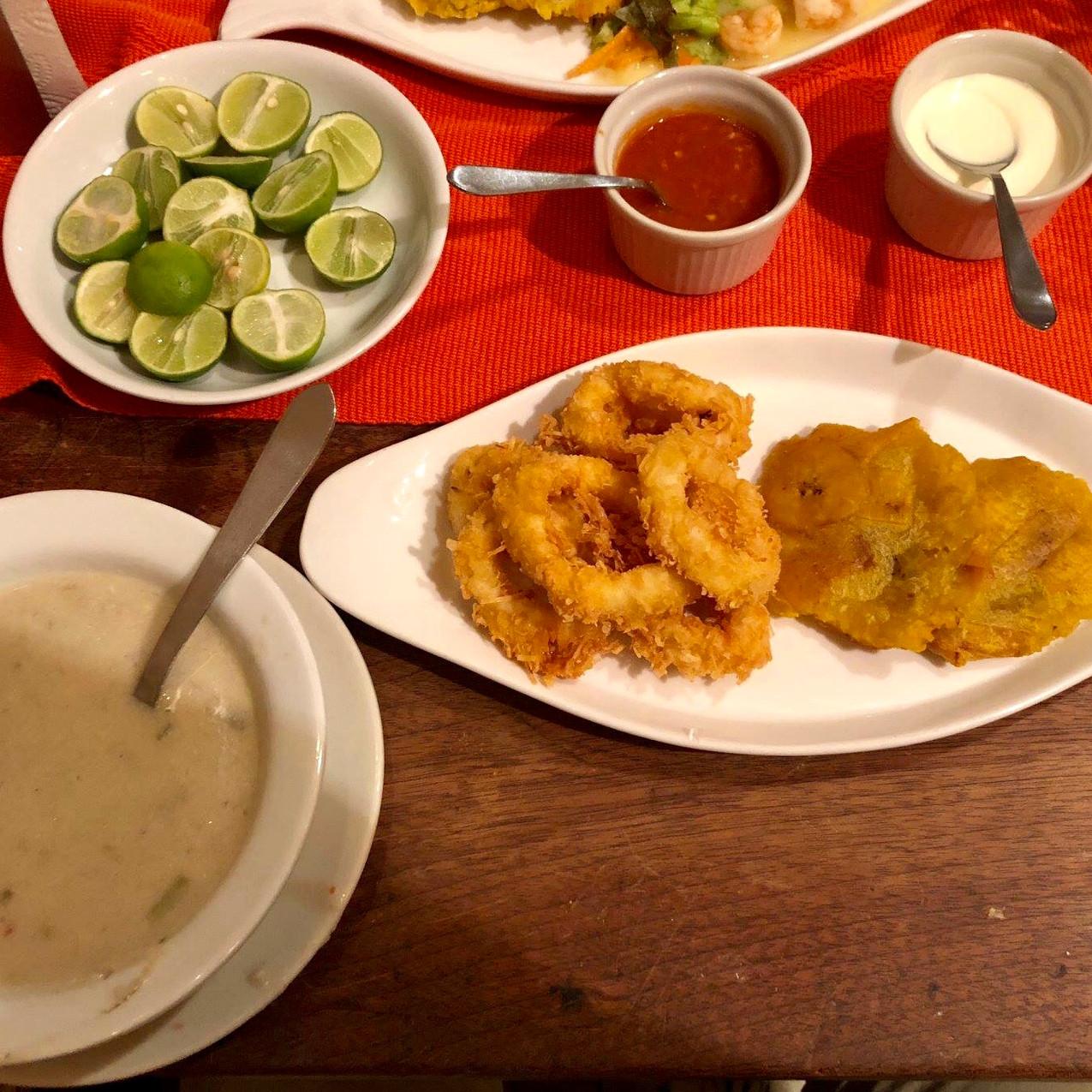 Fish soup, fried calamari, & tostone